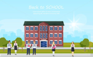 School entrance and kids running outside Vector. Education facade building. Poster template back to school concept flat style - starpik
