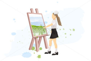 School girl painting creativity lesson Vector flat style. Back to school - starpik