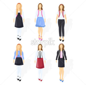 School girl set collection Vector flat style isolated on white - starpik
