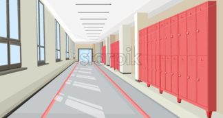 School hall with school lockers Vector interior flat style illustration - starpik