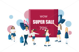 School sale poster Vector flat style. Kids back to school moments banner - starpik