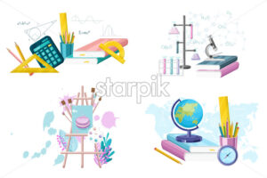School set supplies collection. Mathematics. geography, chemistry and painting supplies set Vector flat style. Main courses illustrate - starpik