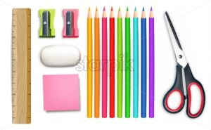 School supplies Vector realistic. Crayons, ruler, notes detailed 3d illustration - starpik