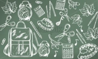 School supplies abstract pattern Vector. Back to school background. Chalk line drawing - starpik