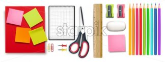 School supplies set Vector realistic. Crayons, ruler, notes detailed 3d illustration - starpik