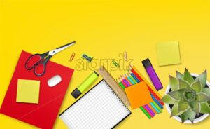 School supplies top view Vector realistic. Back to school concept poster. Autumn fall sale promotion banner - starpik