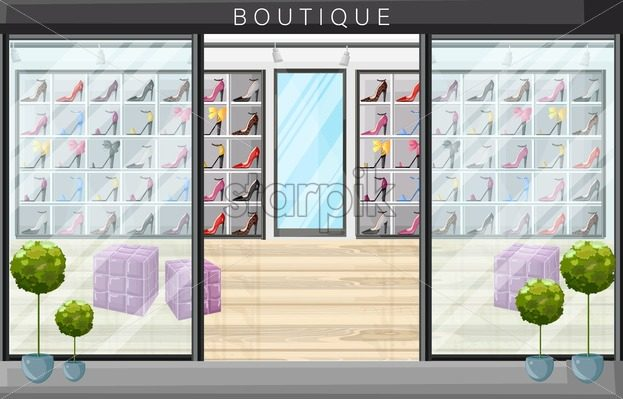 Shoe store boutique vector flat style. Promotion sale shoe racks illustration - starpik