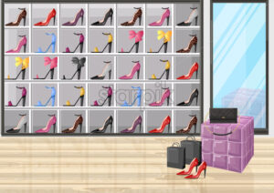 Shoe store racks vector flat style. Promotion sale background illustration - starpik