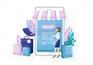 Shopping online app sale promotion vector flat style. Advertise banners or brochure poster with smartphone. Woman shopping ads. Trendy color - starpik