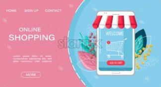 Shopping online app sale vector flat style. Advertise banners or brochure poster with smartphone. Woman shopping ads. Trendy color - starpik