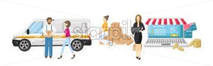 Shopping online logistics concept vector flat style. Advertise banners or brochure poster. Woman shopping ads. Trendy color - starpik