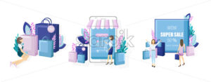Shopping online sale posters vector flat style. Advertise banners or brochure set collection. Woman shopping ads. Trendy colors illustration - starpik