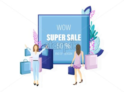 Shopping sale promotion vector flat style. Advertise banners or brochure poster. Woman shopping ads. Trendy color - starpik
