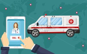 Smartphone ambulance call Vector flat style. Obline consultation emergency template illustration - starpik