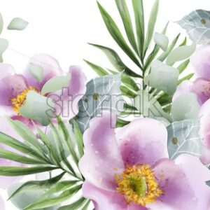 Summer flowers background Vector watercolor. Wedding, save the date, decor ceremony illustration - starpik