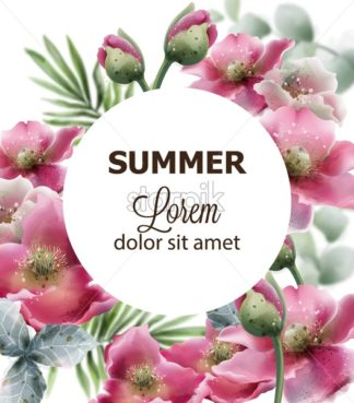 Summer flowers card Vector watercolor. Wedding invitation, save the date, decor illustration - starpik