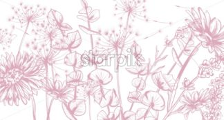 Summer flowers line art Vector. Hand drawn decor texture vintage style pattern - starpik