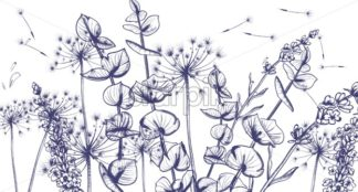 Summer lavender flowers line art Vector. Hand drawn decor texture vintage style pattern - starpik