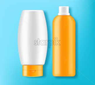 Sunscreen cream Vector realistic. Solar Protection uv and high spf. Product placement mock up. Label design 3d illustration - starpik