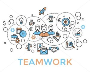 Team work, start up, business vector background vector icons, illustration, flat line - starpik