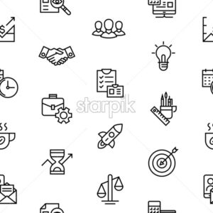 Team work, start up, business vector background vector icons, illustration, flat line, seamless pattern - starpik