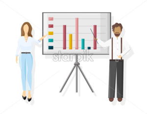Team working Vector flat style. Business team conference meeting illustration - starpik