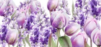 Tulips and lavender watercolor Vector. Spring summer floral bouquet. Wedding ceremony invitation decor. Pastel lavender colors decor - starpik