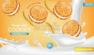 Vanilla cream cookies Vector realistic. Product placement mock up. Sweet dessert cream splash design. 3d illustration - starpik