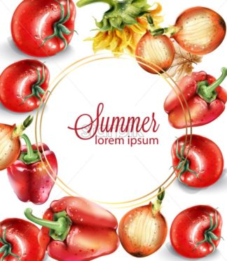 Vegetables watercolor Vector poster. Delicious tomatoes, red pepper and onions. Menu layout background. Summer healthy food - starpik