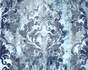 Vintage blue ornament pattern Vector. Baroque rococo texture luxury design. Royal textile decors. Old painted background - starpik