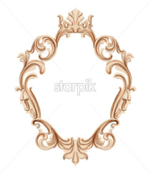 Vintage frame golden ornaments Vector watercolor. Baroque elegant decor. Victorian luxury craft - starpik