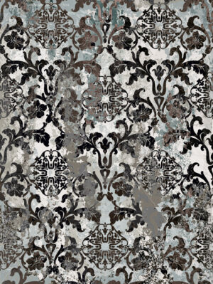 Vintage ornament pattern Vector. Baroque rococo texture luxury design. Royal textile decors. Old painted effect. Gray concrete background - starpik
