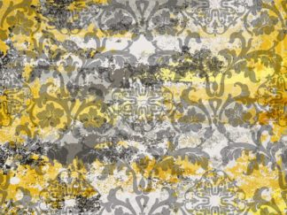 Vintage ornament pattern Vector. Baroque rococo texture luxury design. Royal textile decors. Old painted effect. Yellow concrete background - starpik