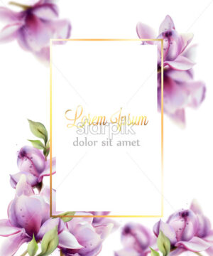 Wedding card with flowers Vector watercolor. Beautiful floral decor frame. Golden text - starpik