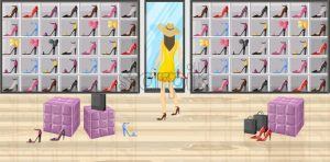 Woman in a shoes boutique store Vector flat style illustration - starpik