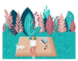 Woman in the park Vector flat style. Summer holiday leisure. Laptop, music and wine. abstract flat background - starpik