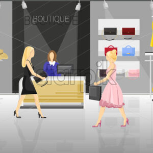 Women in a fancy store Vector. People trying on clothes and accesories. Sale promotion brochure template - starpik