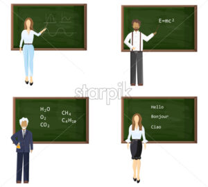Young and senior male or female teachers near blackboard set. Trendy color vector illustration flat style isolated - starpik