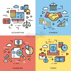 accounting, banking finance flat line icons vector illustration background - starpik