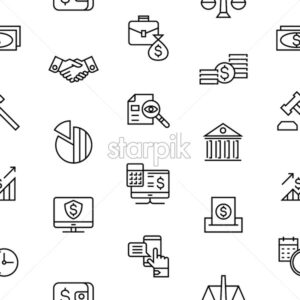 accounting, banking finance flat line icons vector illustration background, seamless pattern - starpik