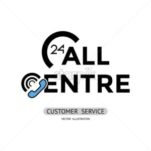 customer service, call centre line flat art vector background illustration - starpik