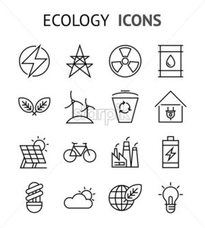 ecology healthcare factory environment minimal flat line icons vector illustration - starpik