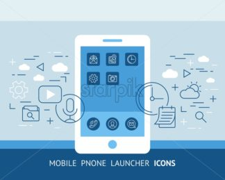 mobile phone launcher icons digital vector background illustration pattern - starpik