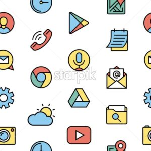 phone apps and launcher black thin flat line digital vector mini banners isolated on white, seamless pattern - starpik