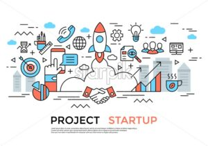 project startup planning communication teamwork cooperation flat line icons vector background banner illustration - starpik