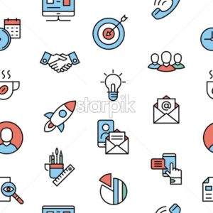 project startup planning communication teamwork cooperation flat line icons vector background banner illustration seamless pattern - starpik