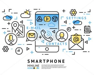 smart phone launcher black thin flat line digital vector illustration isolated on white - starpik
