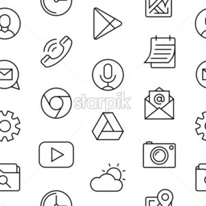 smart phone launcher black thin flat line icons isolated on white digital vector, seamless pattern - starpik