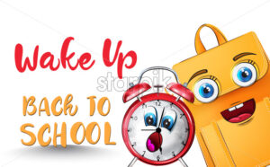 Alarm clock back to school funny cartoon character Vector watercolor - starpik