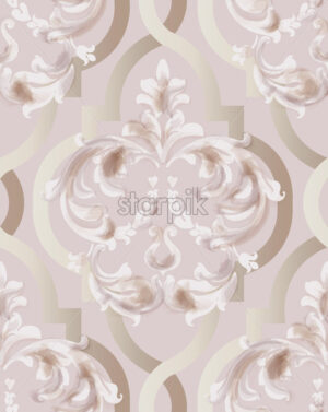 Arabic golden rose ornament pattern background Vector. Watercolor glossy trendy decor - starpik